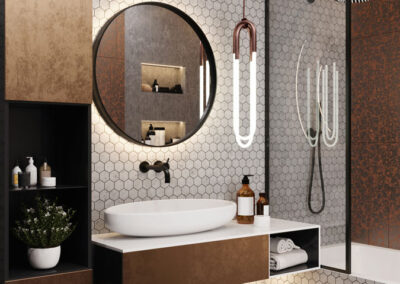 Bronze und schwarzes Badezimmer
